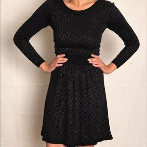 Sandro Paris Long Sleeve Black/Silver, Knit Dress